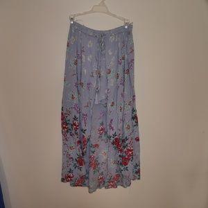Boho Floral Print Shorts With Maxi Skirt Detail
